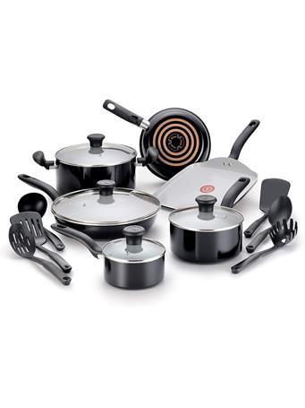 T-FAL - Initiatives Ceramic 16Pc Cookware Set BLACK