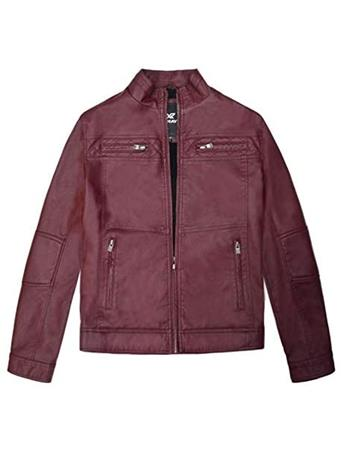 X RAY - Boys Vegan Leather Motorcycle Jacket BURGUNDY