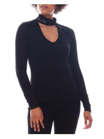 BEBE - Long Sleeve Binded Neck Top BLACK