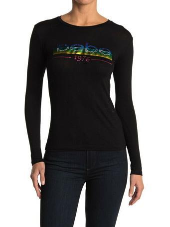 BEBE - Long Sleeve Logo Top BLACK