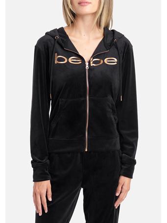 Bebe - Bebe Logo Velour Hoodie Jacket BLACK