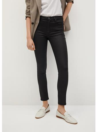 MANGO - Coated Isa Crop Skinny Jeans BLACK
