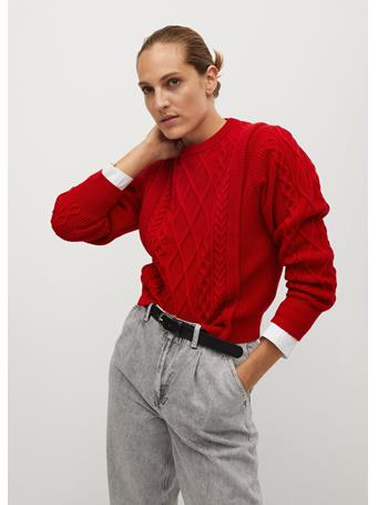 MANGO - Contrasting Knit Sweater BRIGHT RED