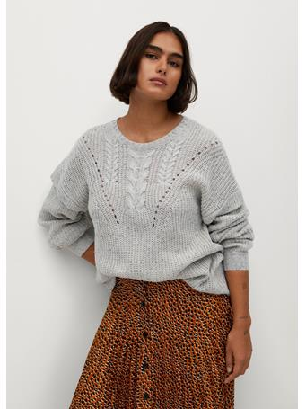 Violeta by MANGO - Openwork Cable-Knit Sweater ICE-GRAY
