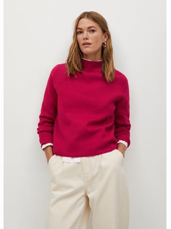 MANGO - Chimney Fine-Knit Sweater BRIGHT-PINK
