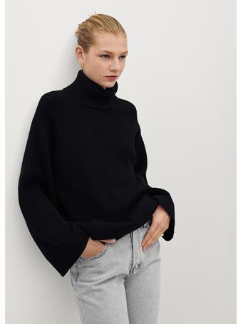 MANGO - Turtleneck Ribbed Sweater BLACK