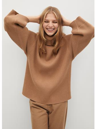 MANGO - Turtleneck Ribbed Sweater MEDIUM BROWN