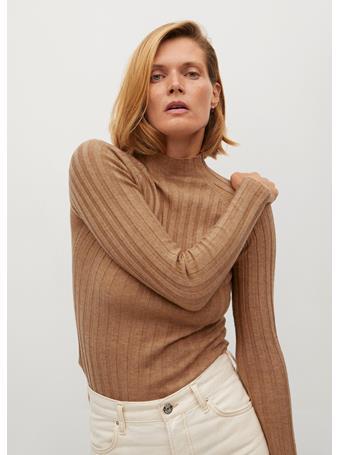 MANGO - Ribbed Fine-Knit Sweater MEDIUM-BROWN