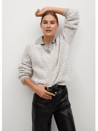 MANGO - V-Neckline Oversize Sweater LIGHT-PASTEL-GREY