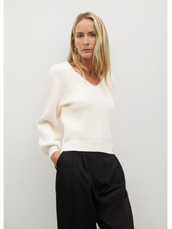 MANGO - Puffed Sleeves Ribbed Sweater NATURAL-WHITE