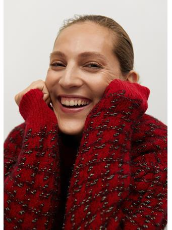 MANGO - Houndstooth Sweater BRIGHT-RED