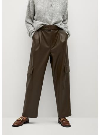 MANGO - Relaxed Fit Faux-Leather Pants MEDIUM-BEIGE
