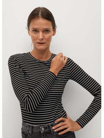 MANGO - Bluma Striped T-Shirt BLACK