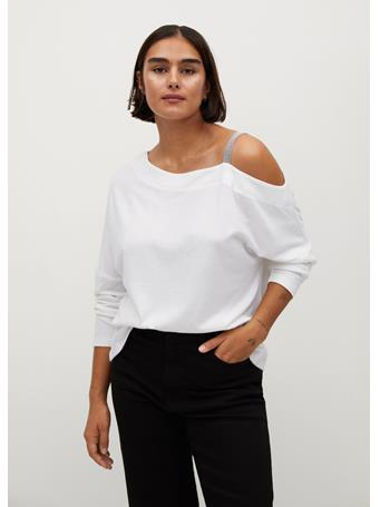 Violeta by MANGO - Blanki Shoulder Strap T-Shirt NATURAL WHITE