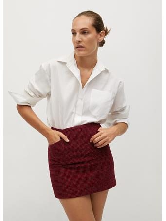 MANGO - Houndstooth Miniskirt BRIGHT RED