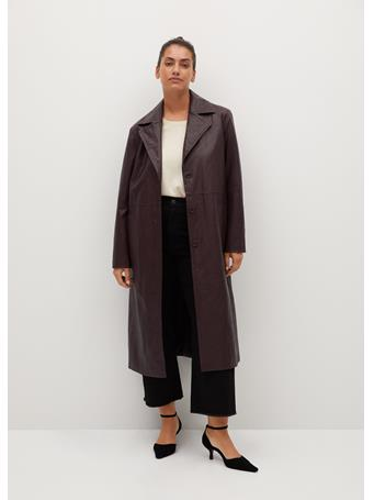 MANGO - Violeta By Faux-Leather Trench DARK RED