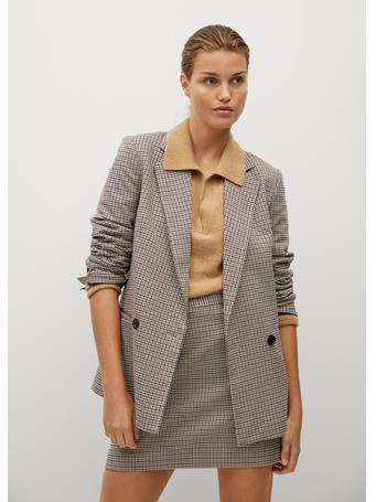 MANGO - Check Miniskirt LIGHT PASTEL GREY