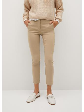 MANGO - Cola Crop Skinny Pants LIGHT BEIGE