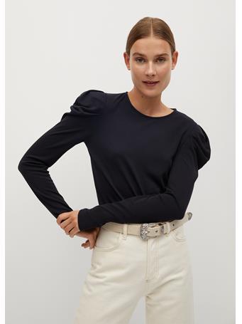MANGO - Puffed Shoulder T-Shirt CHARCOAL