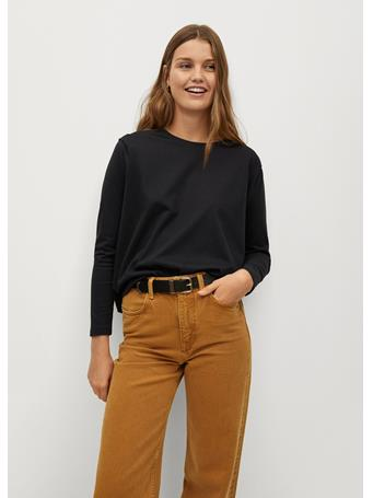 MANGO - Pleat Cotton T-Shirt BLACK
