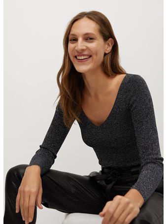MANGO - Glossed Effect Knit Sweater BLACK