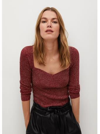 MANGO - Coeurlu Shiny Texture Sweater BRIGHT-RED