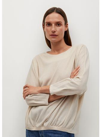MANGO - Shiny Texture T-Shirt LIGHT BEIGE