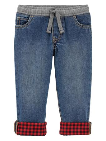 CARTER'S - Pull On Denim Pants With Buffalo Check Cuff - (2T-5T) BLUE