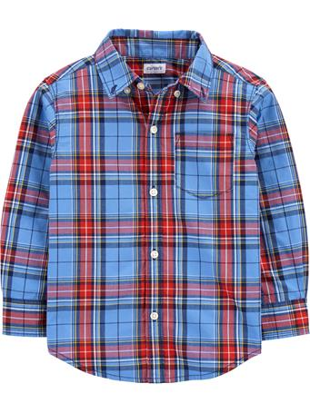 CARTER'S - Long Sleeve Plaid Shirt - (2T-5T) BLUE