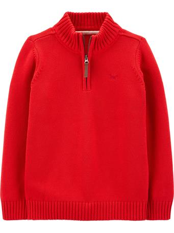CARTER'S - 1/2 Zip Cotton Pullover - (5-8) RED