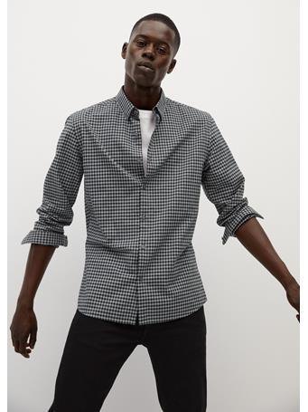 MANGO - Slim Fit Gingham Check Shirt GREY