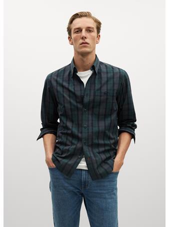 MANGO - Arizona Regular Fit Check Cotton Shirt GREEN
