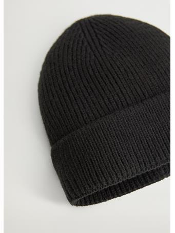 MANGO - Ribbed Knit Beanie BLACK