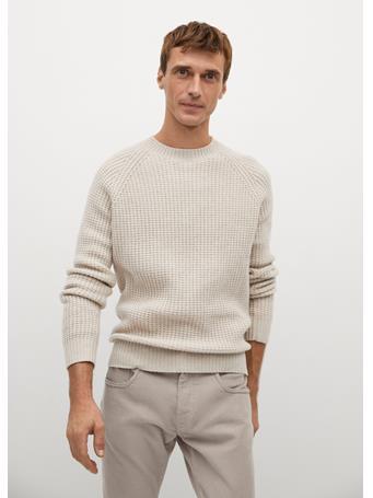 MANGO - Wool-Blend Knit Sweater OFF WHITE