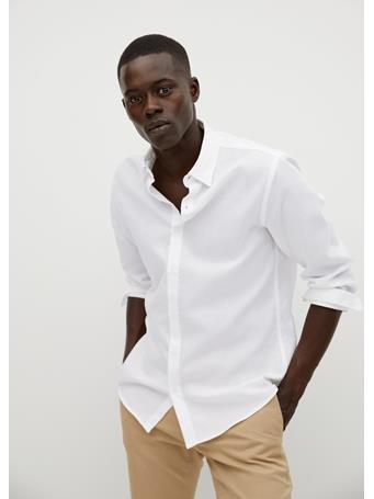 MANGO - Slim-Fit Textured Cotton Shirt WHITE