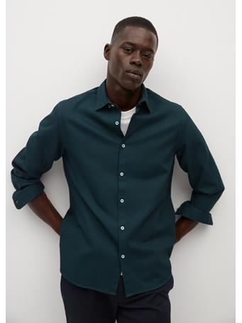 MANGO - Slim-Fit Textured Cotton Shirt KHAKI