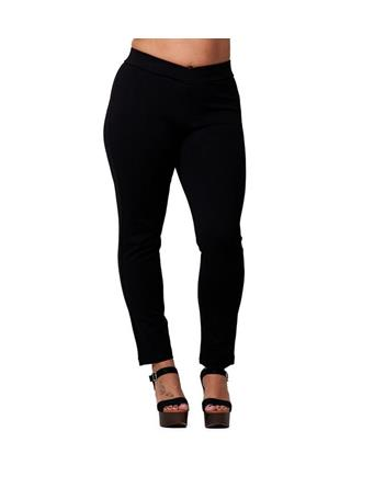 ACTIVE BASIC - Plus Size Elastic Waist Ponte Knit Pant BLACK