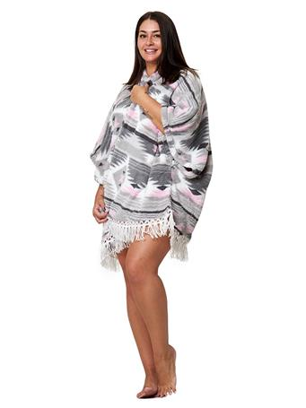PJ COUTURE - Plush Wrap Robe PINK-AZTEC
