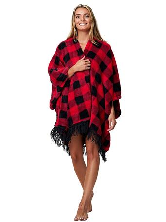 PJ COUTURE - Plush Wrap Robe RED-PLAID
