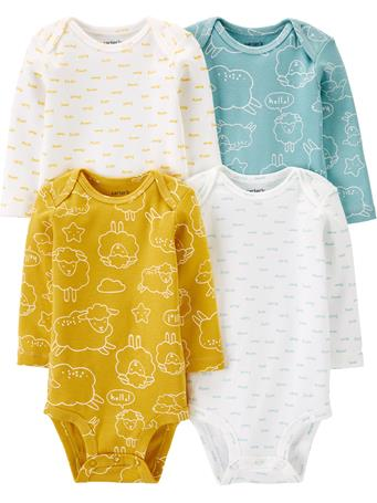CARTER'S - 4 Pack Long Sleeve Sheep Bodysuit Set NOVELTY