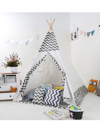 Zig Zag Print Teepee With Mat NO-COLOR