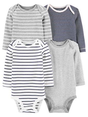 CARTER'S - 4 Pack Long Sleeve Striped Bodysuit Set NOVELTY
