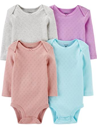 CARTER'S - 4 Pack Long Sleeve Hearts Bodysuit Set  NOVELTY