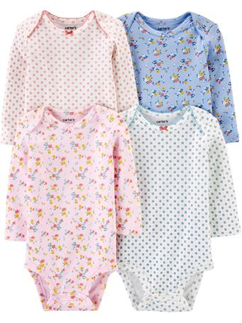 CARTER'S - 4 Pack Long Sleeve Floral Bodysuit Set  NOVELTY