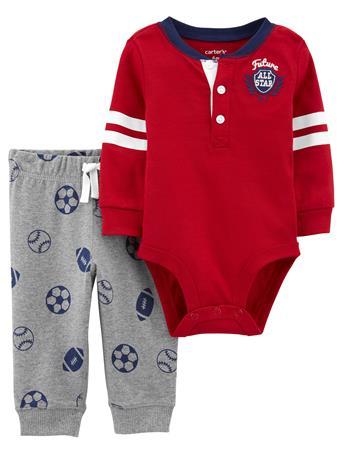 CARTER'S - 2 Piece Football Long Sleeve Bodysuit Set  BURGUNDY