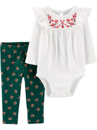 CARTER'S - 2 Piece Embroidered Long Sleeve Bodysuit Set  WHITE