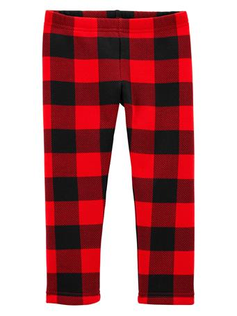 CARTER'S - Cozy Fleece Lined Plaid Leggings (2T-5T) RED