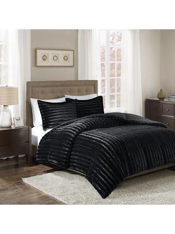 MADISON PARK - Duke Faux Fur 3 Piece Comforter Set BLACK