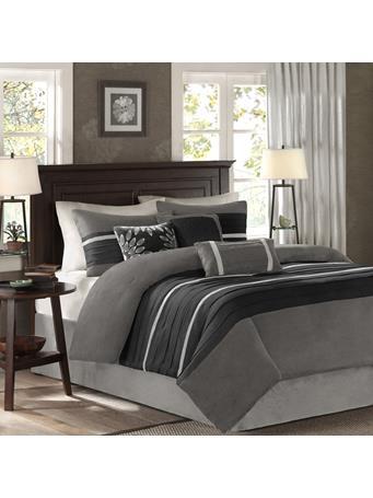 MADISON PARK - Palmer 7 Piece Faux Suede Comforter Set BLACK