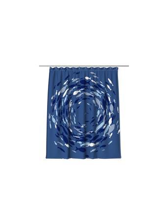 BLISS JOLLY - Circle Fish Shower Curtain NAVY